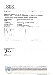 ผ้าทอสีเขียวเข้มสำหรับแจ็คเก็ต SGS Certificates